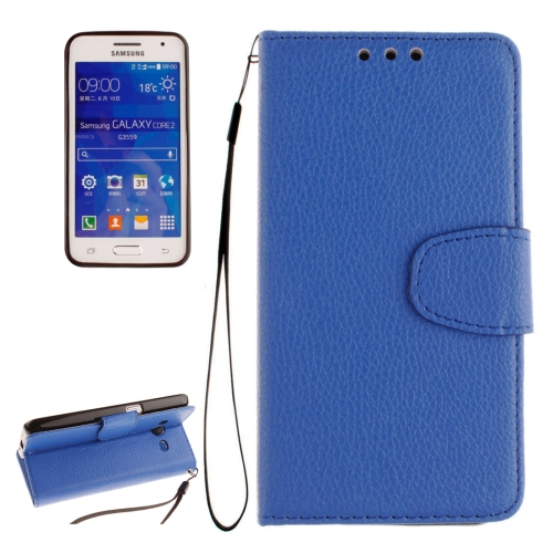 Buy For Samsung Galaxy Core 2 / G355 Litchi Texture Horizontal Flip Leather Case with Holder & Card Slots & Wallet & Photo Frame & Lanyard, Blue for $2.42 in SUNSKY store
