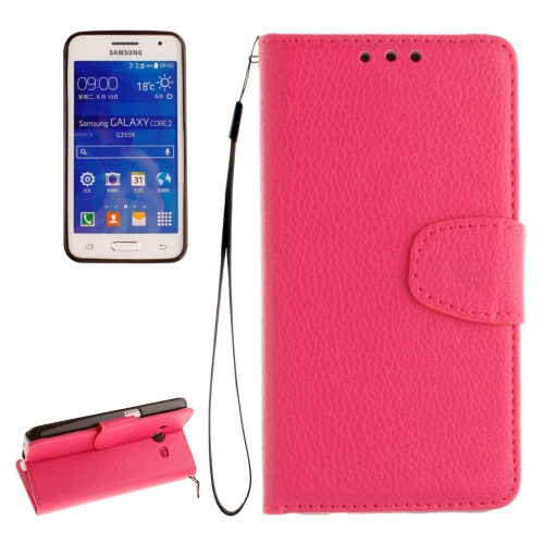 Buy For Samsung Galaxy Core 2 / G355 Litchi Texture Horizontal Flip Leather Case with Holder & Card Slots & Wallet & Photo Frame & Lanyard, Magenta for $2.42 in SUNSKY store