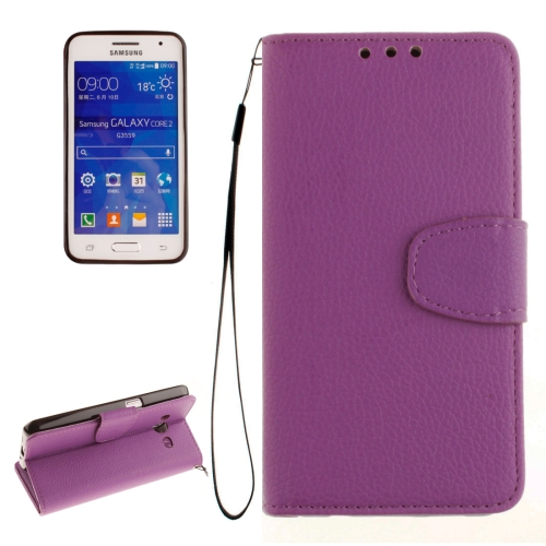 For Samsung Galaxy Core 2 / G355 Litchi Texture Horizontal Flip Leather Case with Holder & Card Slots & Wallet & Photo Frame & Lanyard, Purple