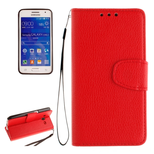 Buy For Samsung Galaxy Core 2 / G355 Litchi Texture Horizontal Flip Leather Case with Holder & Card Slots & Wallet & Photo Frame & Lanyard, Red for $2.42 in SUNSKY store