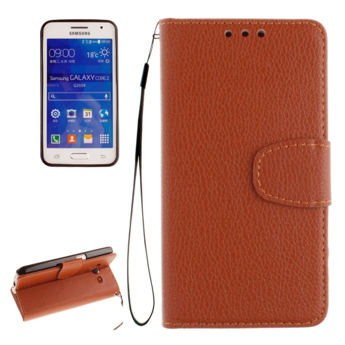 Buy For Samsung Galaxy Core 2 / G355 Litchi Texture Horizontal Flip Leather Case with Holder & Card Slots & Wallet & Photo Frame & Lanyard, Brown for $2.42 in SUNSKY store