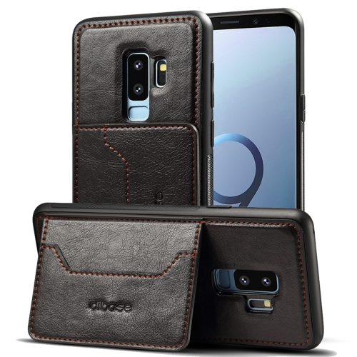 Dibase for Galaxy S9+ TPU + PC + PU Crazy Horse Texture Protective Case with Holder & Card Slots(Black) a 556 protective pu leather case w card holder slots for samsung galaxy s3 i9300 black