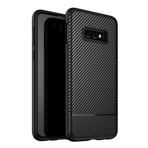 Lewei Series Carbon Fiber Texture TPU Protective Case for Galaxy S10e(Black)