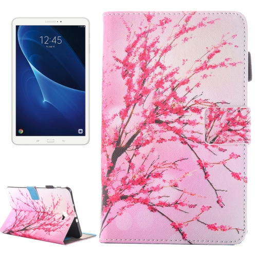 For Galaxy Tab A 10.1 (2016) / T580 Peach Blossom Pattern Horizontal Flip Leather Case with Holder & Card Slots & Pen Slot