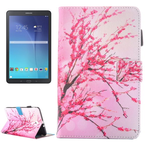For Galaxy Tab E 9.6 / T560 Peach Blossom Pattern Horizontal Flip Leather Case with Holder & Card Slots & Pen Slot