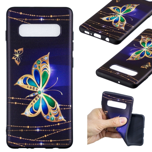 Embossed Painted Pattern TPU Protective Back Case For Galaxy S10+ (Large Butterfly)