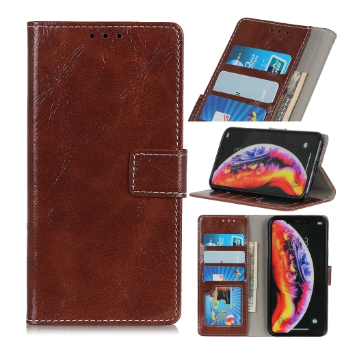 Retro Crazy Horse Texture Horizontal Flip Leather Case for Galaxy A40, with Holder & Card Slots & Photo Frame & Wallet (Brown)