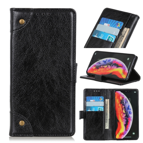 Copper Buckle Nappa Texture Horizontal Flip Leather Case for Galaxy A40, with Holder & Card Slots & Wallet (Black)