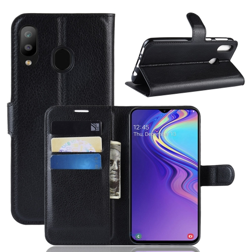 Litchi Texture Horizontal Flip Leather Case For Galaxy M20 ,With Holder & Wallet & Card Slots (Black)