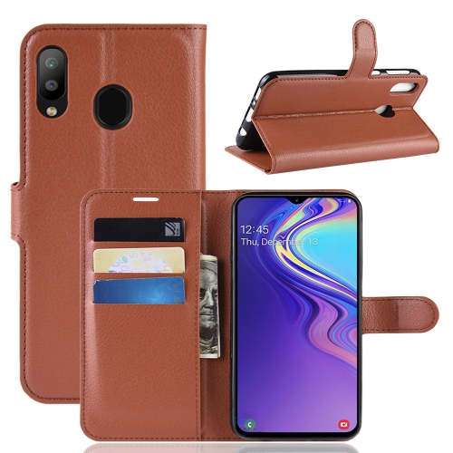 Litchi Texture Horizontal Flip Leather Case For Galaxy M20 ,With Holder & Wallet & Card Slots (Brown)