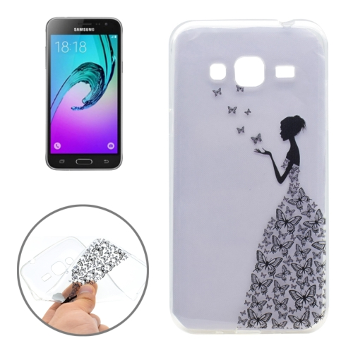 Buy For Samsung Galaxy J3, 2016 / J310 Butterfly and Girl Pattern Transparent Soft TPU Protective Back Cover Case for $1.16 in SUNSKY store