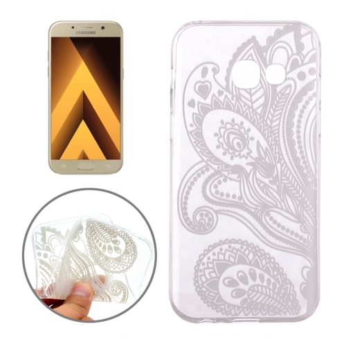 Buy For Samsung Galaxy A3, 2017 / A320 Leaves Shape Half Flower Pattern Transparent TPU Protective Case for $1.16 in SUNSKY store