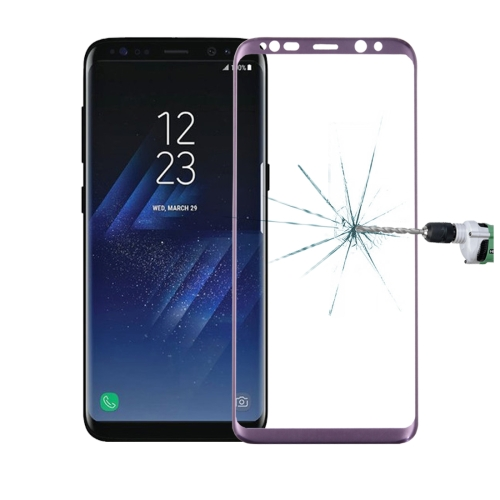 Buy For Samsung Galaxy S8 / G9500 0.3mm 9H Surface Hardness 3D Curved Surface Silk-screen Full Screen Tempered Glass Screen Protector, Purple for $2.62 in SUNSKY store