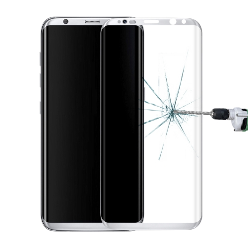 Buy For Samsung Galaxy S8+ / G955 0.3mm 9H Surface Hardness 3D Curved Surface Silk-screen Full Screen Tempered Glass Screen Protector, Silver for $2.55 in SUNSKY store
