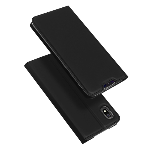 DUX DUCIS Skin Pro Series Horizontal Flip PU + TPU Leather Case for Galaxy A10, with Holder & Card Slots (Black)
