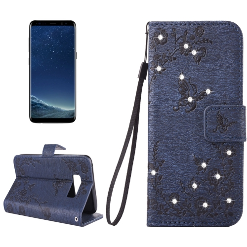 Buy For Samsung Galaxy S8 + / G955 Diamante Butteryfly Pressed Flowers Pattern Horizontal Flip Leather Case with Holder & Card Slots & Wallet & Lanyard (Dark Blue) for $2.59 in SUNSKY store