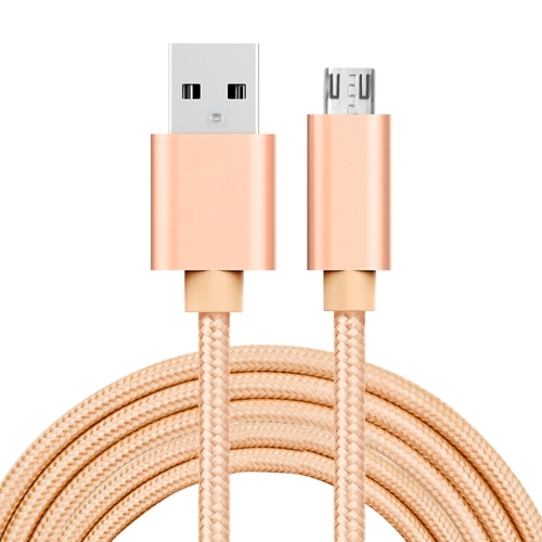 2m 3A Woven Style Metal Head Micro USB to USB Data / Charger Cable, For Samsung / Huawei / Xiaomi / Meizu / LG / HTC and Other Smartphones(Gold)