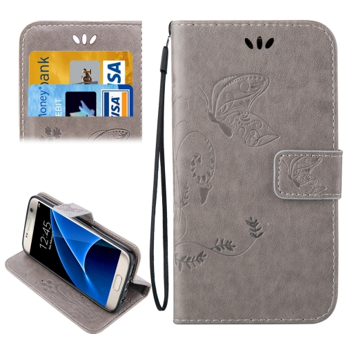 For Samsung Galaxy S7 / G930 Crazy Horse Texture Printing Horizontal Flip Leather Case with Holder & Card Slots & Wallet & Lanyard, Grey