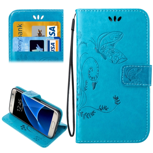 Buy For Samsung Galaxy S7 / G930 Crazy Horse Texture Printing Horizontal Flip Leather Case with Holder & Card Slots & Wallet & Lanyard, Blue for $2.44 in SUNSKY store