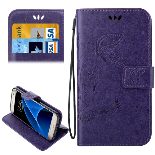 Buy For Samsung Galaxy S7 / G930 Crazy Horse Texture Printing Horizontal Flip Leather Case with Holder & Card Slots & Wallet & Lanyard, Purple for $2.32 in SUNSKY store