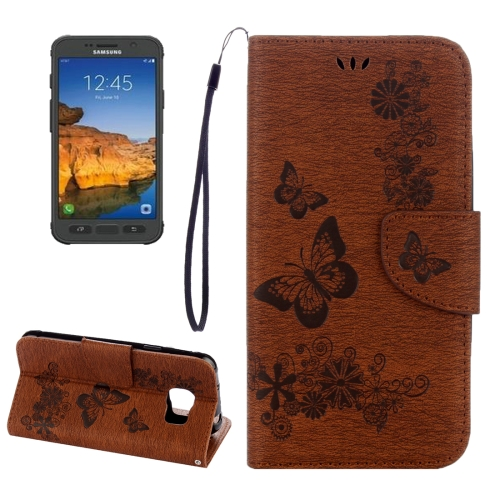Buy For Samsung Galaxy S7 Active Pressed Flowers Butterfly Pattern Horizontal Flip Leather Case with Holder & Card Slots & Wallet & Lanyard, Brown for $2.06 in SUNSKY store