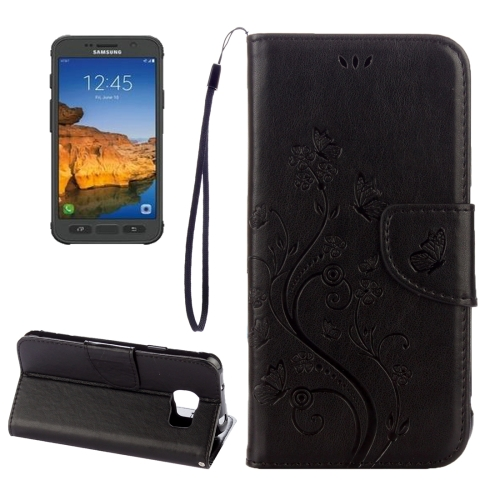 Buy For Samsung Galaxy S7 Active Pressed Flowers Butterfly Pattern Horizontal Flip Leather Case with Holder & Card Slots & Wallet & Lanyard, Black for $2.06 in SUNSKY store