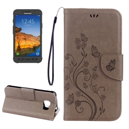 Buy For Samsung Galaxy S7 Active Pressed Flowers Butterfly Pattern Horizontal Flip Leather Case with Holder & Card Slots & Wallet & Lanyard, Grey for $2.06 in SUNSKY store