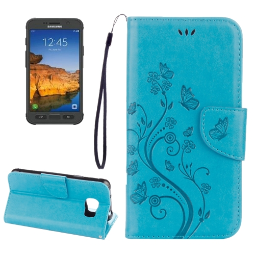 Buy For Samsung Galaxy S7 Active Pressed Flowers Butterfly Pattern Horizontal Flip Leather Case with Holder & Card Slots & Wallet & Lanyard, Blue for $2.06 in SUNSKY store