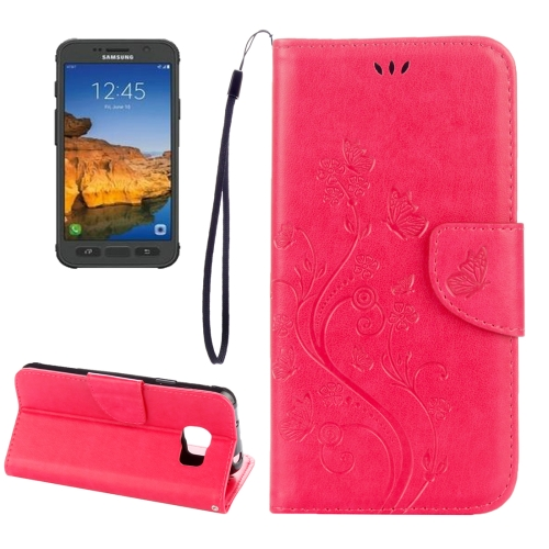 Buy For Samsung Galaxy S7 Active Pressed Flowers Butterfly Pattern Horizontal Flip Leather Case with Holder & Card Slots & Wallet & Lanyard, Magenta for $2.06 in SUNSKY store