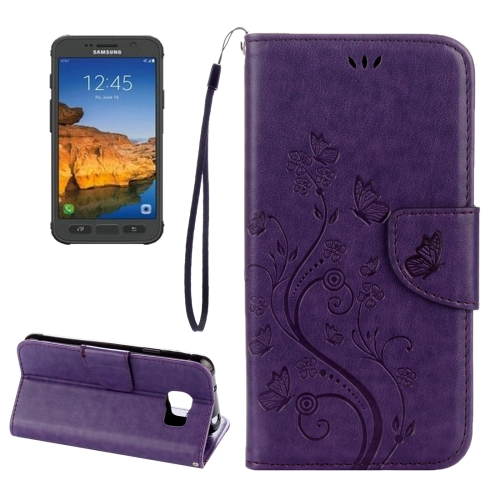 Buy For Samsung Galaxy S7 Active Pressed Flowers Butterfly Pattern Horizontal Flip Leather Case with Holder & Card Slots & Wallet & Lanyard, Purple for $2.06 in SUNSKY store