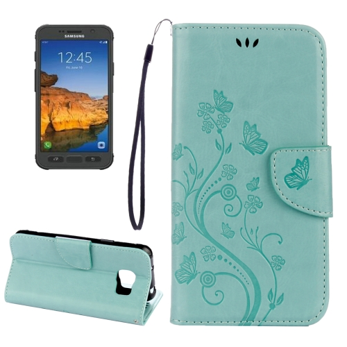 Buy For Samsung Galaxy S7 Active Pressed Flowers Butterfly Pattern Horizontal Flip Leather Case with Holder & Card Slots & Wallet & Lanyard (Baby Blue) for $2.06 in SUNSKY store