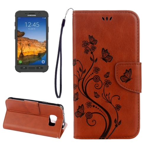 Buy For Samsung Galaxy S7 Active Pressed Flowers Butterfly Pattern Horizontal Flip Leather Case with Holder & Card Slots & Wallet & Lanyard, Brown for $2.16 in SUNSKY store