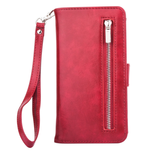 Buy For Samsung Galaxy S8 Crazy Horse Texture Zipper Horizontal Flip Leather Case with Detachable Back Protective Case & Card Slots & Photo Frame & Lanyard, Magenta for $4.91 in SUNSKY store