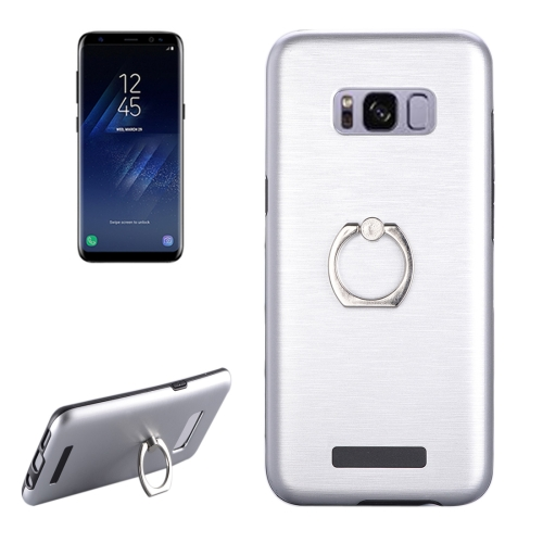 Buy For Samsung Galaxy S8 Brushed Texture Metal Protective Back Case with Ring Holder Stand, Silver for $2.58 in SUNSKY store
