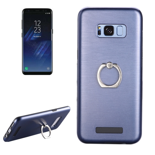 Buy For Samsung Galaxy S8 + / G955 Brushed Texture Metal Protective Back Case with Ring Holder Stand, Blue for $2.58 in SUNSKY store