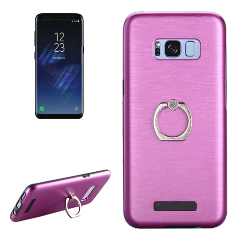 Buy For Samsung Galaxy S8 + / G955 Brushed Texture Metal Protective Back Case with Ring Holder Stand, Magenta for $2.58 in SUNSKY store