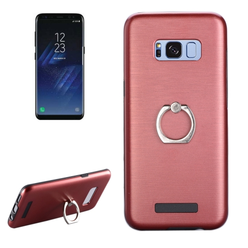 Buy For Samsung Galaxy S8 + / G955 Brushed Texture Metal Protective Back Case with Ring Holder Stand, Red for $2.58 in SUNSKY store