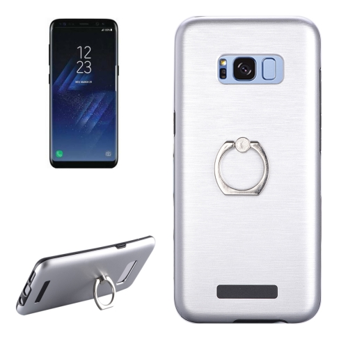 Buy For Samsung Galaxy S8 + / G955 Brushed Texture Metal Protective Back Case with Ring Holder Stand, Silver for $2.58 in SUNSKY store