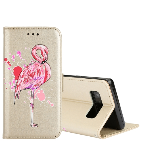 Buy For Samsung Galaxy Note 8 Glittery Powder Flamingo Print Horizontal Flip Leather Case with Holder & Wallet & Card Slots & Photo Frame, Gold for $2.67 in SUNSKY store