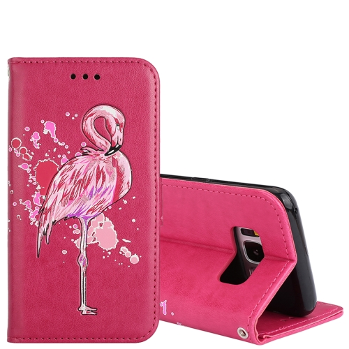 Buy For Samsung Galaxy S8 Glittery Powder Flamingo Print Horizontal Flip Leather Case with Holder & Wallet & Card Slots & Photo Frame, Magenta for $2.67 in SUNSKY store
