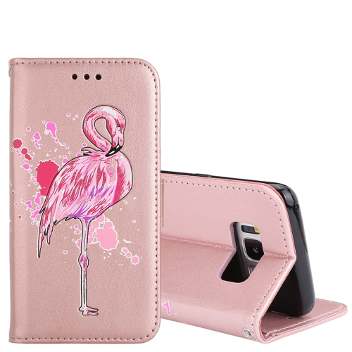 Buy For Samsung Galaxy S8 Glittery Powder Flamingo Print Horizontal Flip Leather Case with Holder & Wallet & Card Slots & Photo Frame (Rose Gold) for $2.67 in SUNSKY store
