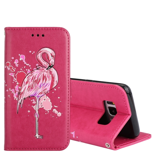 Buy For Samsung Galaxy S8+ Glittery Powder Flamingo Print Horizontal Flip Leather Case with Holder & Wallet & Card Slots & Photo Frame, Magenta for $2.67 in SUNSKY store