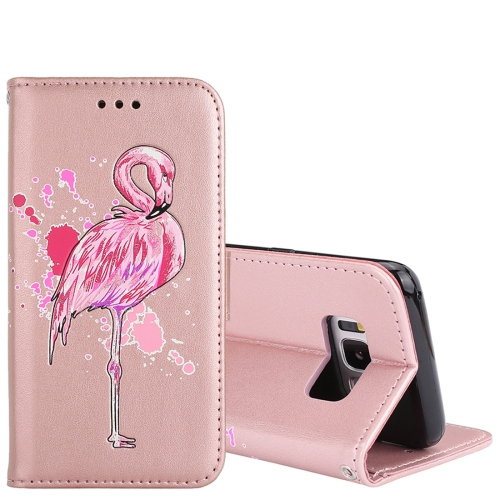 Buy For Samsung Galaxy S8+ Glittery Powder Flamingo Print Horizontal Flip Leather Case with Holder & Wallet & Card Slots & Photo Frame (Rose Gold) for $2.67 in SUNSKY store