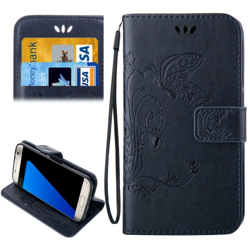 For Samsung Galaxy S7 Edge / G935 Crazy Horse Texture Printing Horizontal Flip Leather Case with Holder & Card Slots & Wallet & Lanyard (Dark Blue)