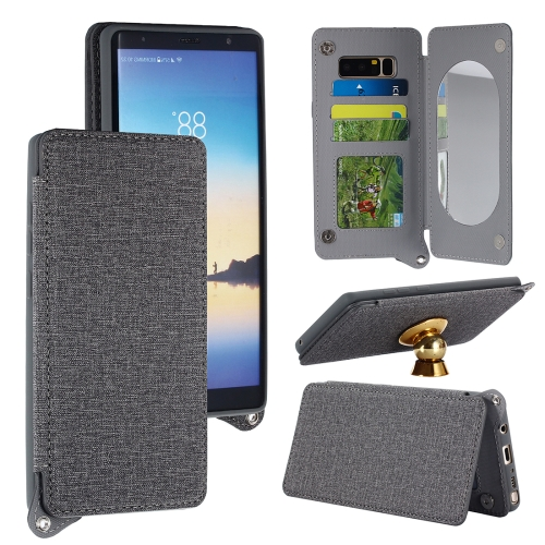 For Samsung Galaxy Note 8 Protective Back Case Cover with Card Slot & Photo Frame & Holder & Mirror, Grey