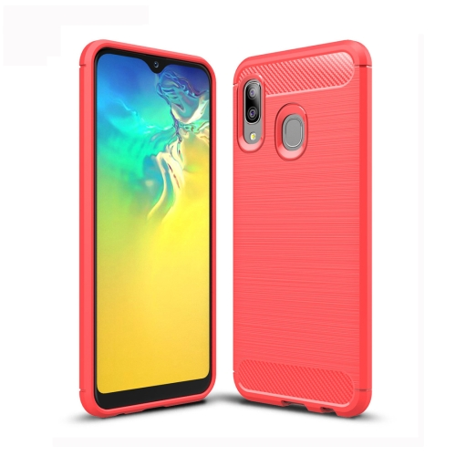 Brushed Texture Carbon Fiber TPU Case for Galaxy A20e (Red)
