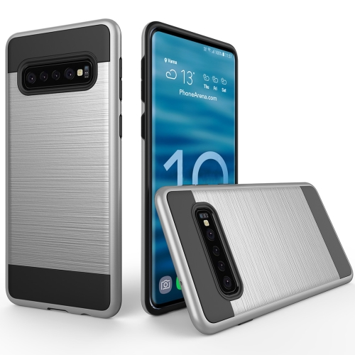 Brushed Texture PC + TPU Protective Case for Galaxy S10 (Silver) фото