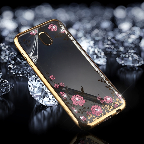 Buy For Samsung Galaxy J7, 2017 (EU Version) Flowers Pattern Diamond Encrusted Electroplating Soft TPU Protective Cover Case, Gold for $1.55 in SUNSKY store