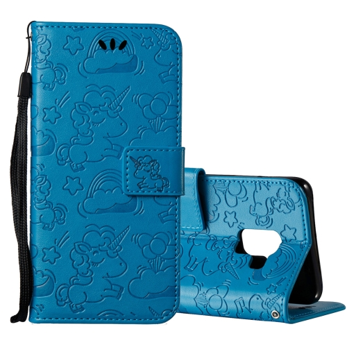 Buy For Samsung Galaxy A8, 2018 Pressed Horse Cloud Print Horizontal Flip Leather Case with Holder & Card Slots & Wallet & Lanyard, Blue for $2.92 in SUNSKY store