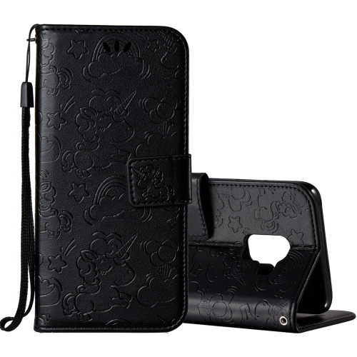 Buy For Samsung Galaxy A8+, 2018 Pressed Horse Cloud Print Horizontal Flip Leather Case with Holder & Card Slots & Wallet & Lanyard, Black for $2.92 in SUNSKY store
